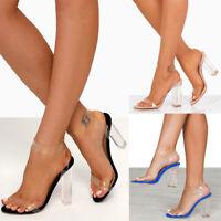 Fashion Womens High Heels Perspex Hologram Sandals Ladies Clear Block Heel Shoes
