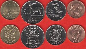 Zambia set of 4 coins: 1 ngwee - 1 kwacha 1983-1992 UNC