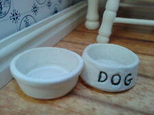 Dolls House Miniatures 1/12th Scale Dog Food and Water Bowls D1947 New *