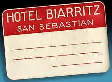 ALTER KOFFERAUFKLEBER | LUGGAGE LABEL 40er HOTEL BIARRITZ SAN SEBASTIAN geprägt