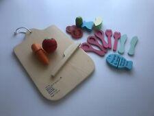 Wooden Kitchen Toy Set Cutlery Chopping Board Vegetables Montessori Steiner