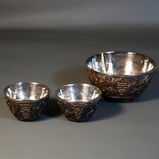 Antique Chinese Carved Coconut Cups, Silver Hallmarked Interior. 3 Cups.