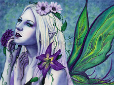 Fairy Fantasy Art ORIGINAL PAINTING Seelie Fae Flowers Purple Green Spring goth