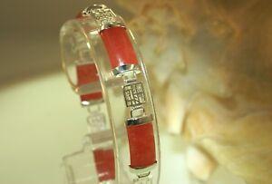 """9MM SOLID 925 STERLING SILVER RED JADE GOOD LUCK SYMBOLS LINK BRACELET 7 5/8"""""""