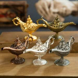 Aladdin Lamps Incense Burners Metal Carved Hollow Light Wishing Pot Home Decor