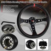 For 2001-2005 Honda Civic 350MM Black / Red PVC Deep Dish Steering Wheel + Hub