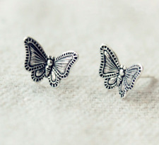 S925 Sterling Silver Lovely Flying Butterfly Stud Earrings