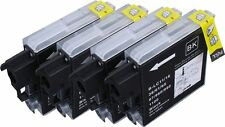 4 NERO CARTUCCE D'INCHIOSTRO XL PER BROTHER LC1100 LC980 DCP-395CN DCP-385C MFC-490CW