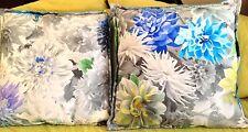 2 Two Coppia Designers Guild Mariedal Blu Cobalto Velluto Floreale Copricuscino