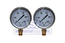 "Liquid Filled Pressure Gauge   0-200 PSI   2-1/2"" Face   1/4"" LM   Single Scale"