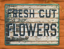 "TIN SIGN ""Fresh Cut Flowers"" Rustic Kitchen Wall Decor"