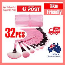 32Pcs Pink Cosmetic Makeup Make Up Brush Brushes Kit Set Beauty Leather Case NEW