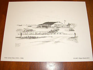 Sikorsky Airport,Stratford,CT;8/2/47 Vintage Sketch by James Tabor,(Lithograph)