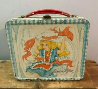 Vtg 1970s 70s Retro Aladdin Junior Miss Fancy Little Girls Metal Lunch Box Pail