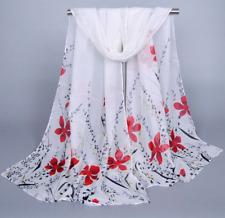 Foulard Mousseline Femme Motif Fleurs Rouges - Bijoux des Lys