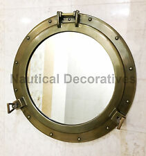 "20"" Aluminum Porthole Antique Finish~Porthole Mirror Ship Wall Hanging Decor"