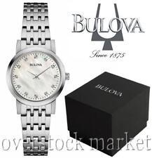 New Women's Bulova 12 Diamond Accented MOP Stainless Steel Bracelet Watch 96P175