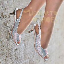 Ladies Diamante Slingback Shoes Peep toe Party Low Heel Wide fit Shoe size 20382