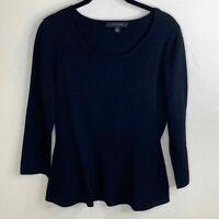 Ann Taylor Women's Black Knit Stretch 3/4 Sleeve Scoop Neck Peplum Top Size M