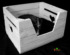 Vintage Cat Basket + Pillow Dog Pet Bed Made of Wood Old Fruit Crate IN White