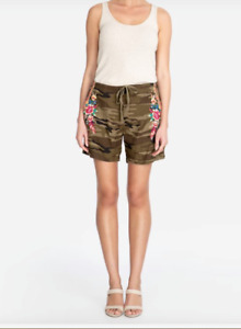 NWT Johnny Was Imani Embroidered Linen Drawstring Shorts Molly Camo XL $138