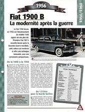 VOITURE FIAT 1900 B FICHE TECHNIQUE AUTOMOBILE 1956 COLLECTION CAR