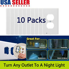 10 Packs Night Angel Light Sensor LED Outlet Cover Wall Plug in 3 LED 110V 1.5W