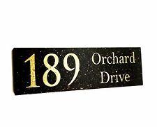 Housewarming Gift House Sign Customised Laser Engraved Black Granite 300x100 mm