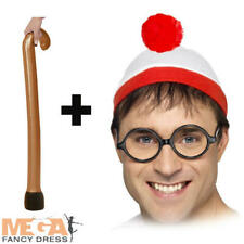 Wheres Wally Hat + Glasses + Walking Stick Adult Fancy Dress Book Day Costume Ac