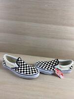 VANS Slip On White/Black Checkered Canvas Low Top Shoes Men Size 9.5  Women's 11