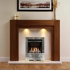 GAS WALNUT SURROUND CREAM MARBLE SILVER FIRE FIREPLACE SUITE LARGE LIGHTS 54""