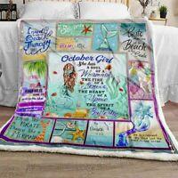 October Girl A Soul Of A Mermaid Sofa Fleece Blanket 50-80 Made In US