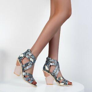 Ladies Snake Pattern Open Toe Chunky High Heel Back Zip Cut Out oversize Shoe
