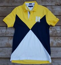 Tommy Hillfiger Polo Sz  L Yellow Blue & White Diamond H on Chest Small Spellout