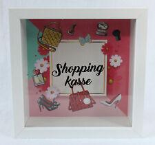 Spardose Shopping Kasse aus Holz und Glas Rahmen 15 x 15 x 5 cm