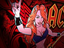 AC/DC Luci Original NOS Pinball Machine Translite Art Hard Rock Premium Ed Sexy