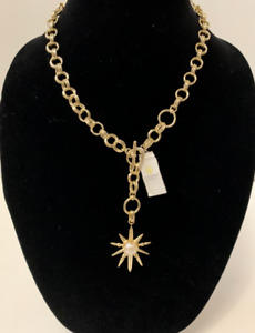 Kendra Scott Gold-Plated Sunburst With Pearl Y Charm Necklace