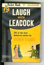 LAUGH WITH LEACOCK, rare US Pocket 1st VARIANT humor satire pulp vintage pb