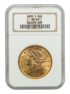 1898-S $20 NGC MS63 - Liberty Double Eagle - Gold Coin
