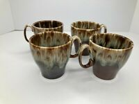4 Vintage Canonsburg??? Pottery Brown Drip Glaze Tea Coffee Cups 1 has a chip