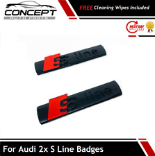 2x Fits Audi S-Line Pair Gloss Black Badge Side Wing Fender S Line RS Quattro