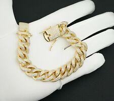 Solid 925 Sterling Silver - 14K Gold 12mm Heavy Cuban Bracelet - 8'' -