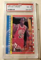 1987-1988 Fleer Sticker #2 Michael Jordan Chicago Bulls PSA 8 Mint Condition!!