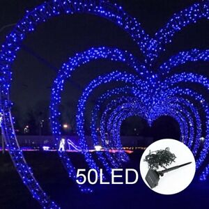 50 LED 7M Solar Powered String Fairy Lights Outdoor Garden Wedding Party Xmas UK