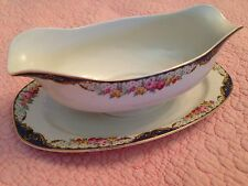 TK THUNY CZECHOSLOVAKIA vintage GRAVY BOAT W UNDERPLATE Flower Border
