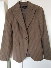 CUE Tailored Fully Lined Long Sleeve Brown, Black Stripe Blazer Jacket Size 10