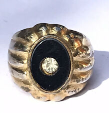 Vintage 18 Ct Rolled Gold Plated Men's Signet Ring Inset with a Single Crystal