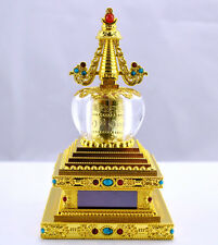 Car Decor Buddhist Prayer Wheel Stupas Solar Powered Spinning Prayer Wheel