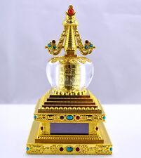 Car Decor Buddhist Prayer Wheel Stupas Solar Powered Spinning Prayer Wheel