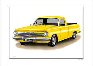 HOLDEN  EH 179  UTE  LIMITED EDITION CAR DRAWING PRINT  (  8 CAR COLOURS )